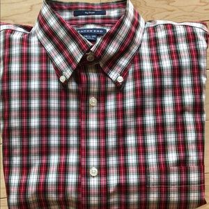Lands End plaid long sleeve button down